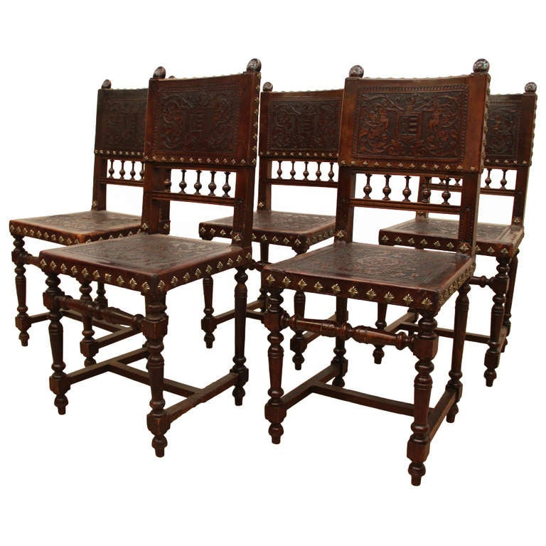Baroque spanish revival leather dining chairs at 1stdibs for Baroque style dining chairs