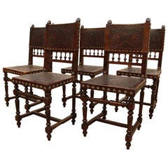 Set of 5 Baroque Revival Embossed Leather Dining Chairs