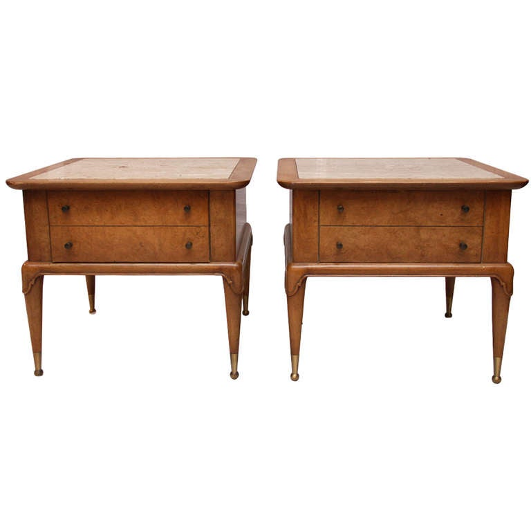 Weiman Travertine And Burled Mahogany End Tables 1