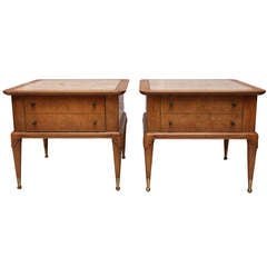 Pair of Weiman Travertine and Burled Mahogany End Tables