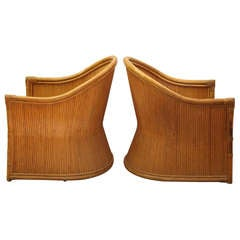Pair of Selig Bamboo Lounge Chairs
