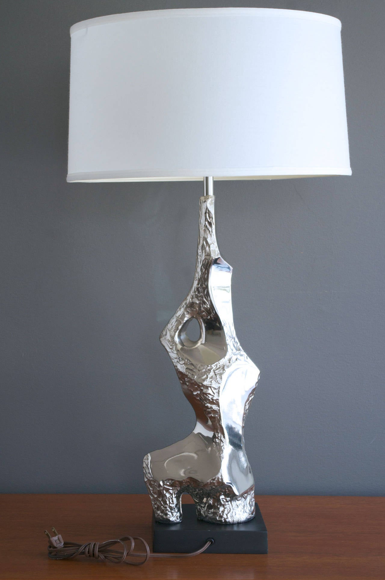 Pair of Brutalist Chrome Table Lamps by Laurel at 1stdibs