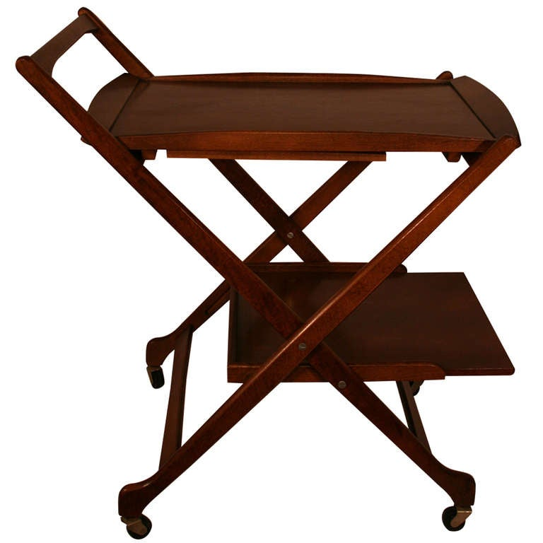 Yugoslavian Walnut Folding Bar Cart