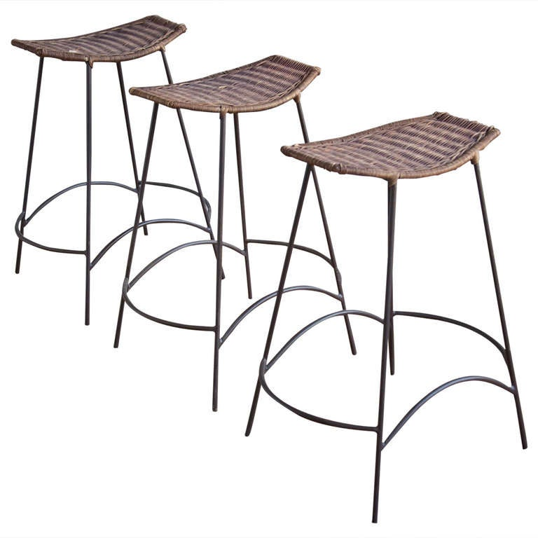 Set Of Wicker Iron Bar Stools In The Style Arthur Umanoff For