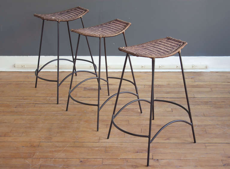 set of wicker u0026 iron bar stools in the style of arthur umanoff 2 - Wrought Iron Bar Stools