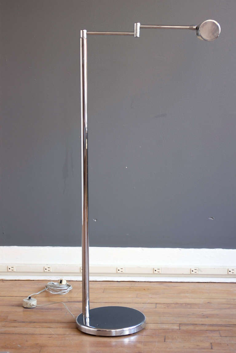 Walter von nessen chrome swing arm floor lamp at 1stdibs for 5 arm chrome floor lamp