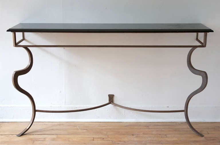 A Sculptural Metal Console Table With A Black Marble Top, Ca. 1970.