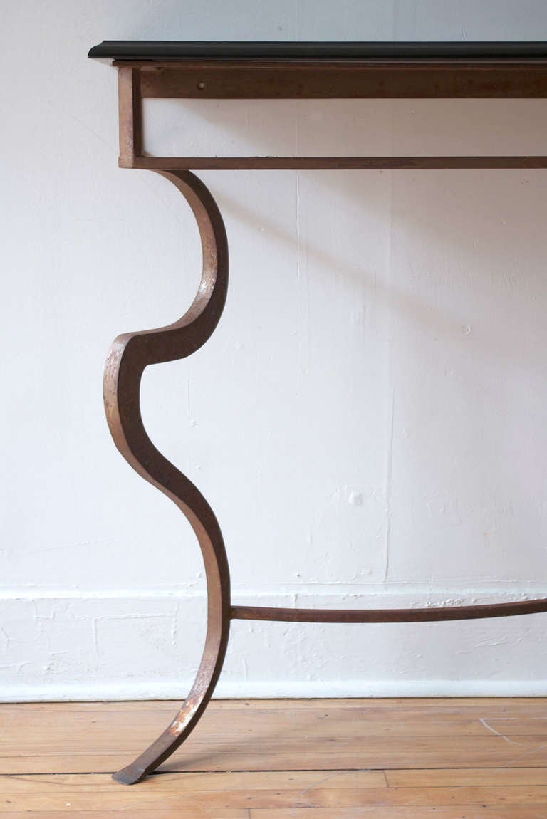Sculptural Metal And Marble Console Table At 1stdibs