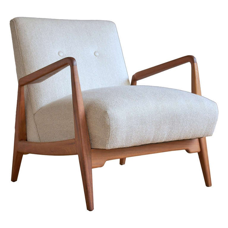 Jens Risom Upholstered Lounge Chair With Walnut Frame At