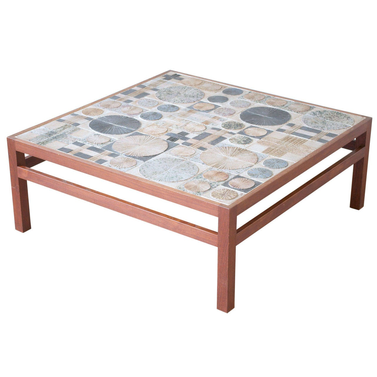 Teak Coffee Table By Willy Beck With Tue Poulsen Tile Top At 1stdibs