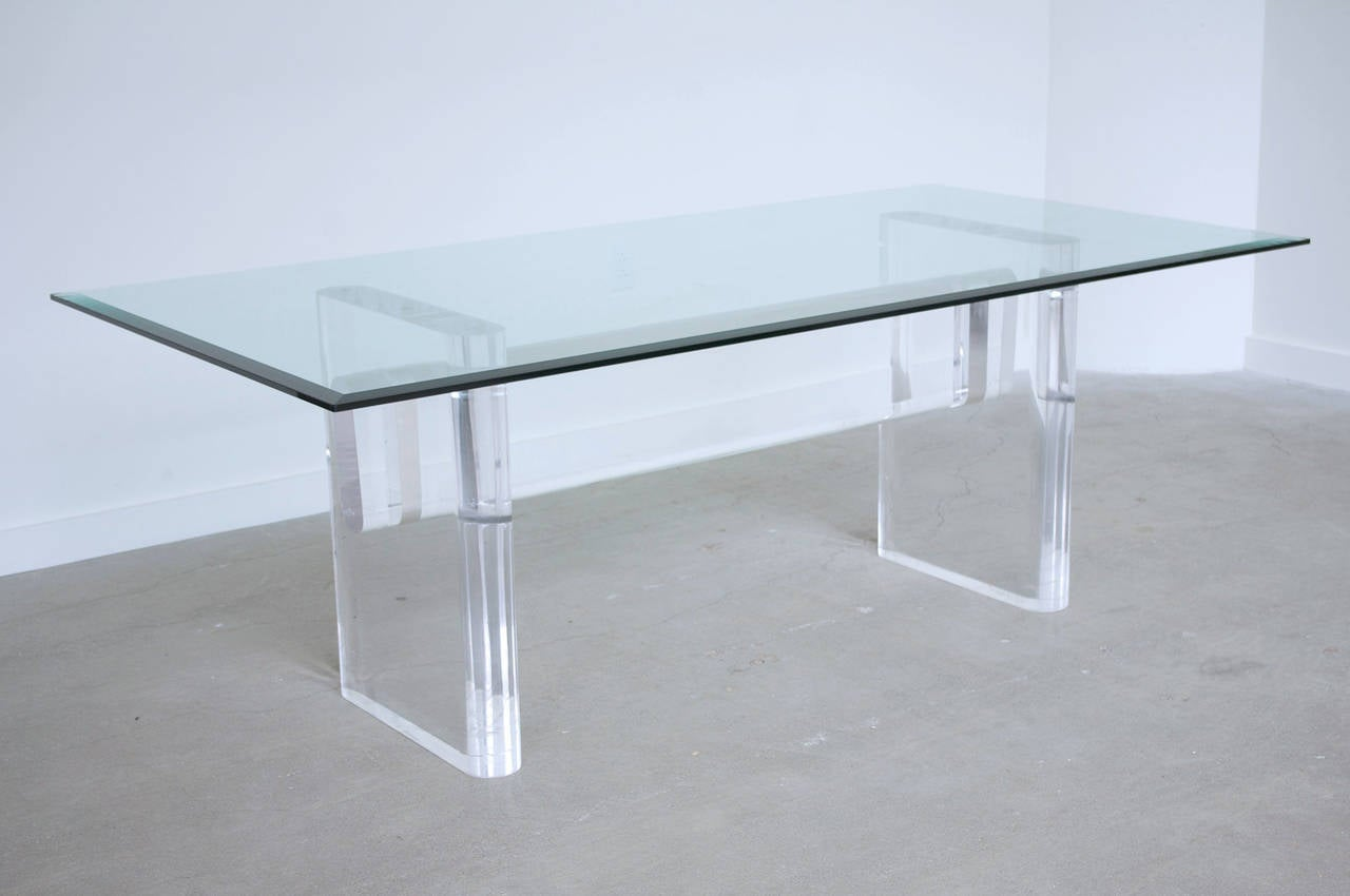 lucite and glass dining table by karl springer at 1stdibs. Black Bedroom Furniture Sets. Home Design Ideas
