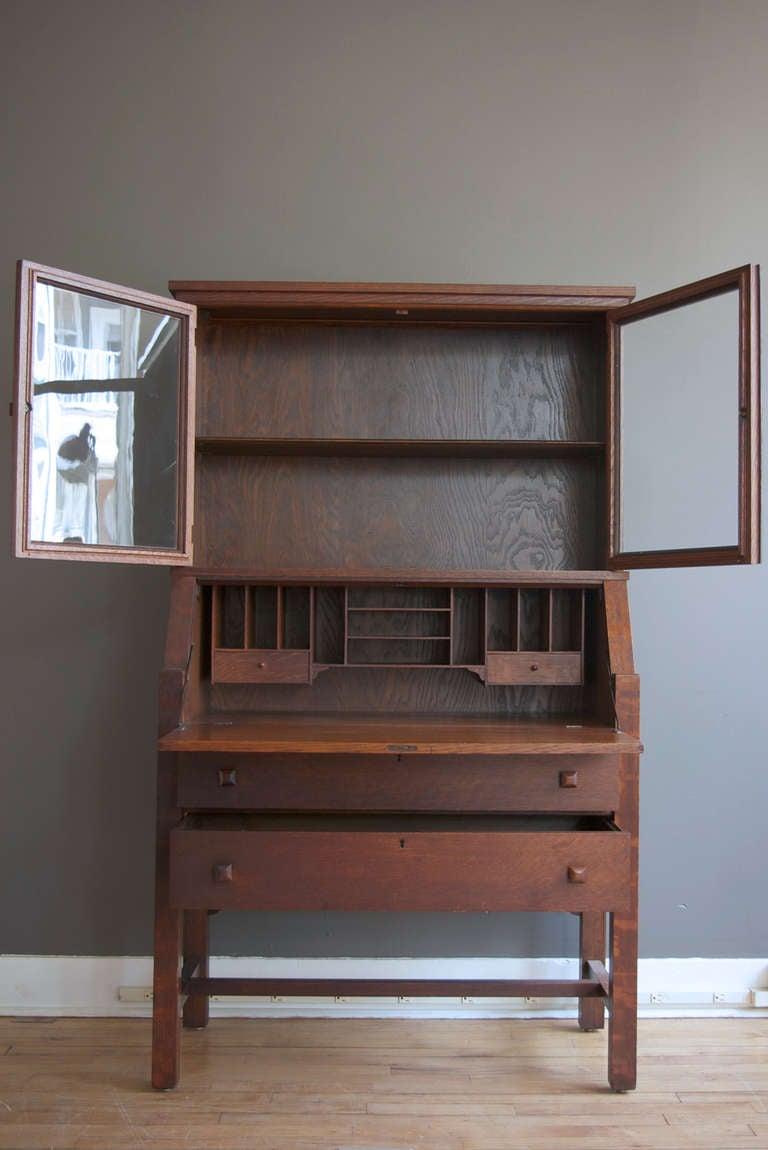 American Arts Crafts Quarter Sawn Oak Secretary Desk For