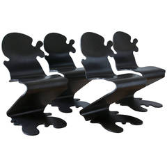 "Set of Four ""Pantonic 5010"" Chairs by Verner Panton for Studio Hag"