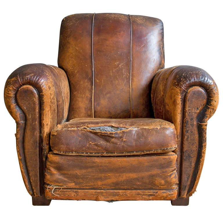 French Art Deco Leather Lounge Chair 1