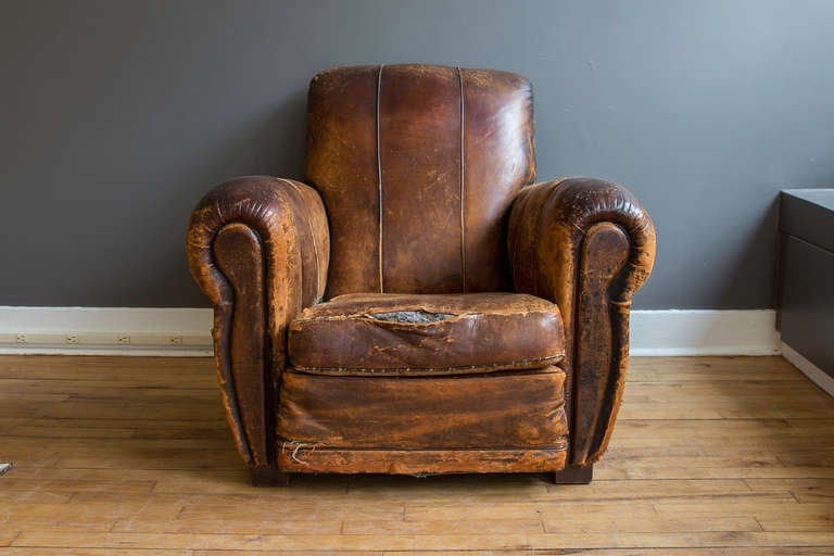 French Art Deco Leather Lounge Chair at 1stdibs