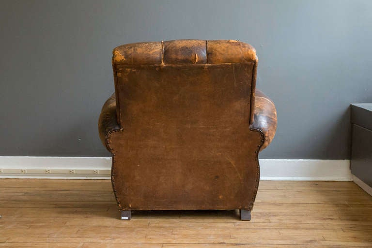 French Art Deco Leather Lounge Chair 3
