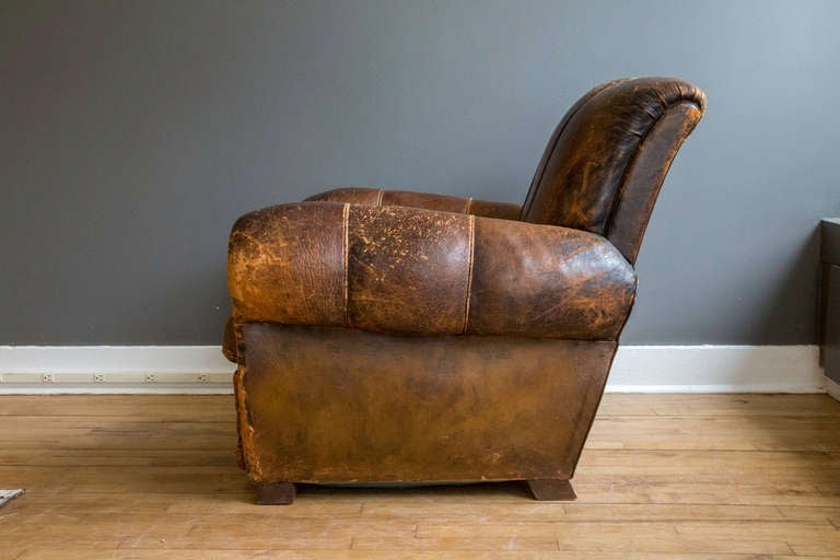 French Art Deco Leather Lounge Chair 4