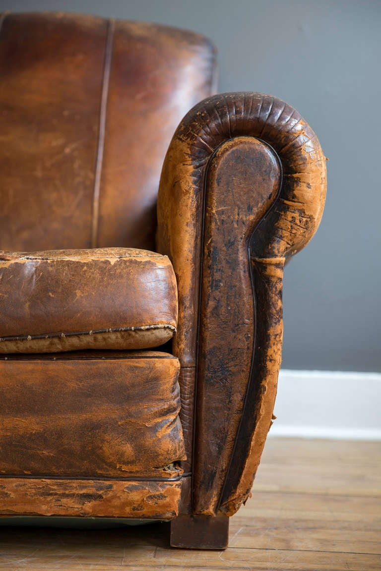French Art Deco Leather Lounge Chair 5