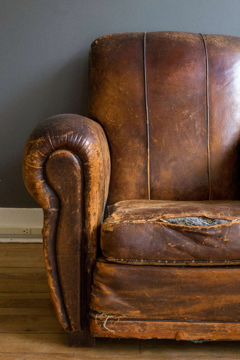 French Art Deco Leather Lounge Chair 6