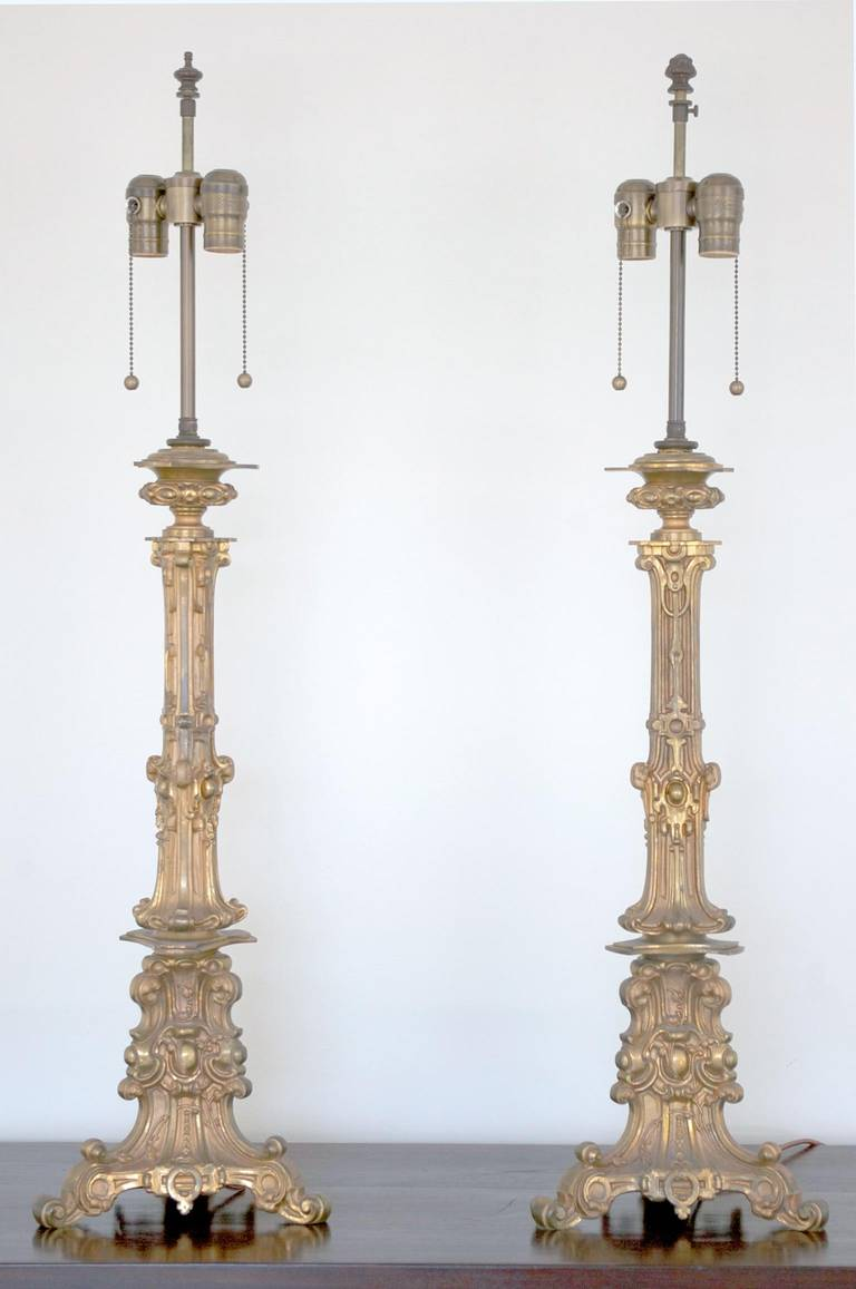 Pair of antique gilt bronze table lamps at 1stdibs a pair of decorative gilt bronze table lamps fashioned from antique oil lamps circa 1880 greentooth Gallery