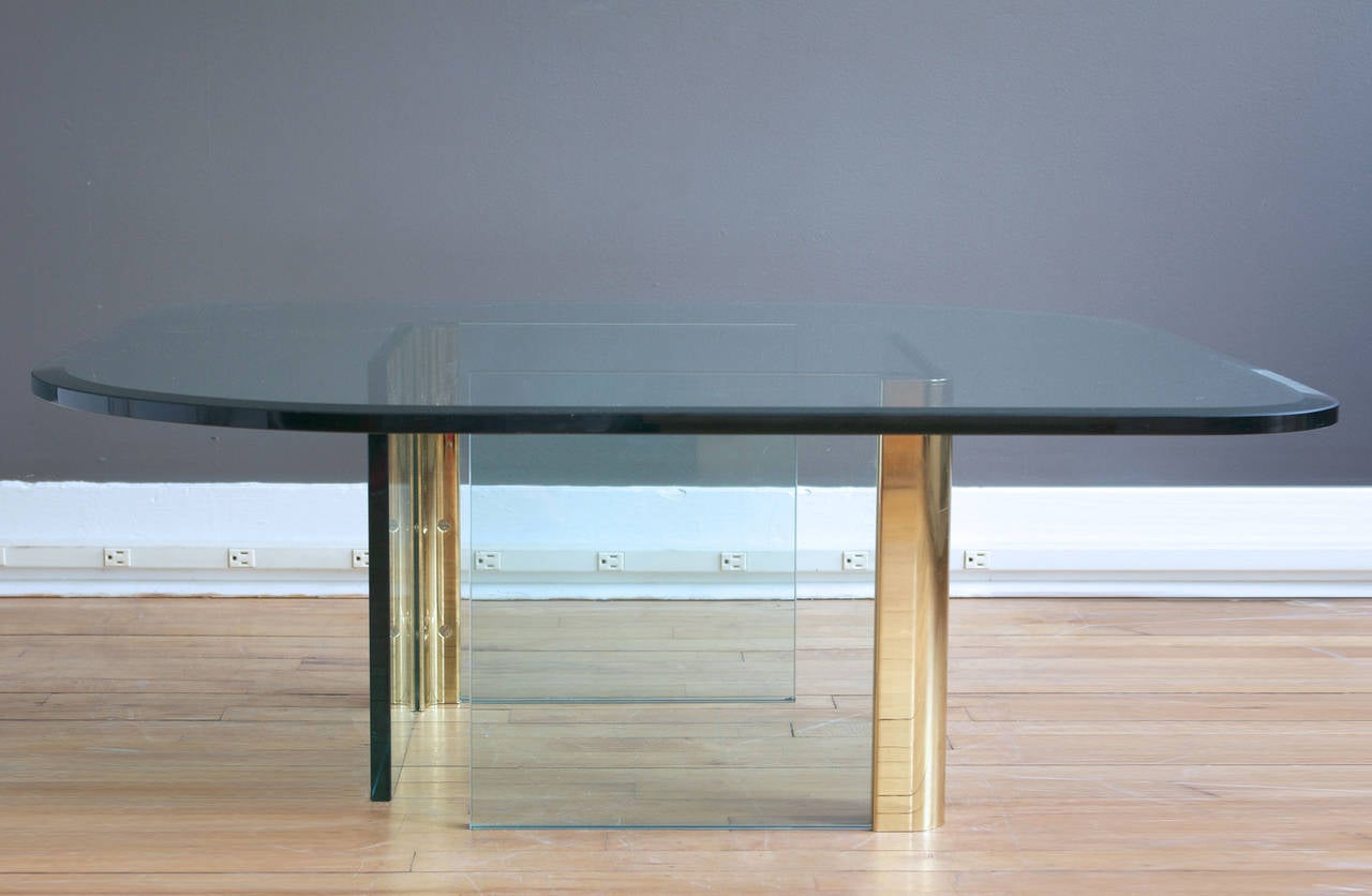 Glass and brass coffee table by leon rosen for the pace collection glass and brass coffee table by leon rosen for the pace collection 2 geotapseo Choice Image