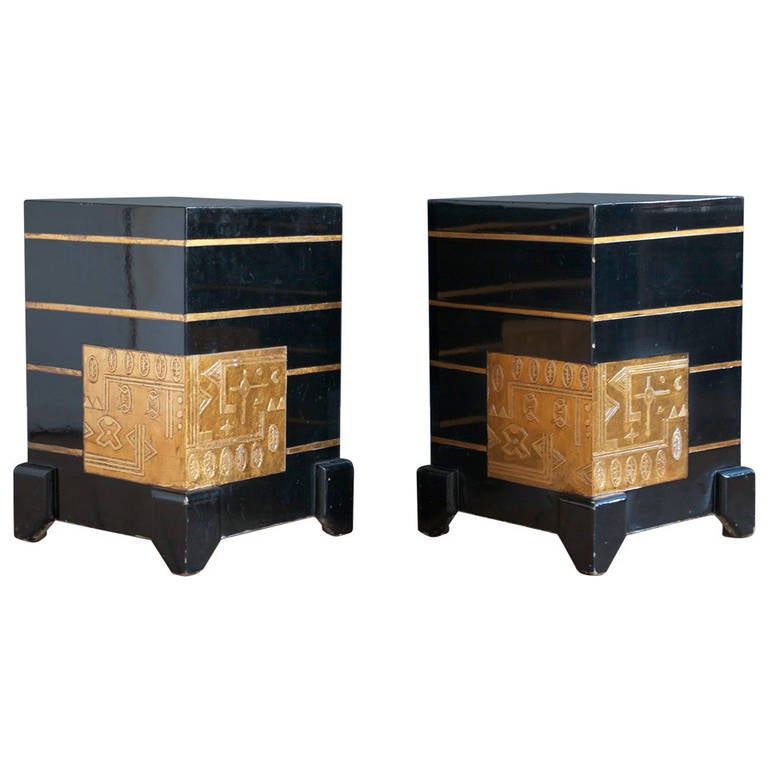 Black Lacquer And Gold Leaf Side Tables At 1stdibs