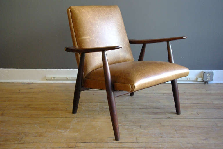 Charming Hans Wegner Teak Lounge Chair With Leather Upholstery At 1stdibs