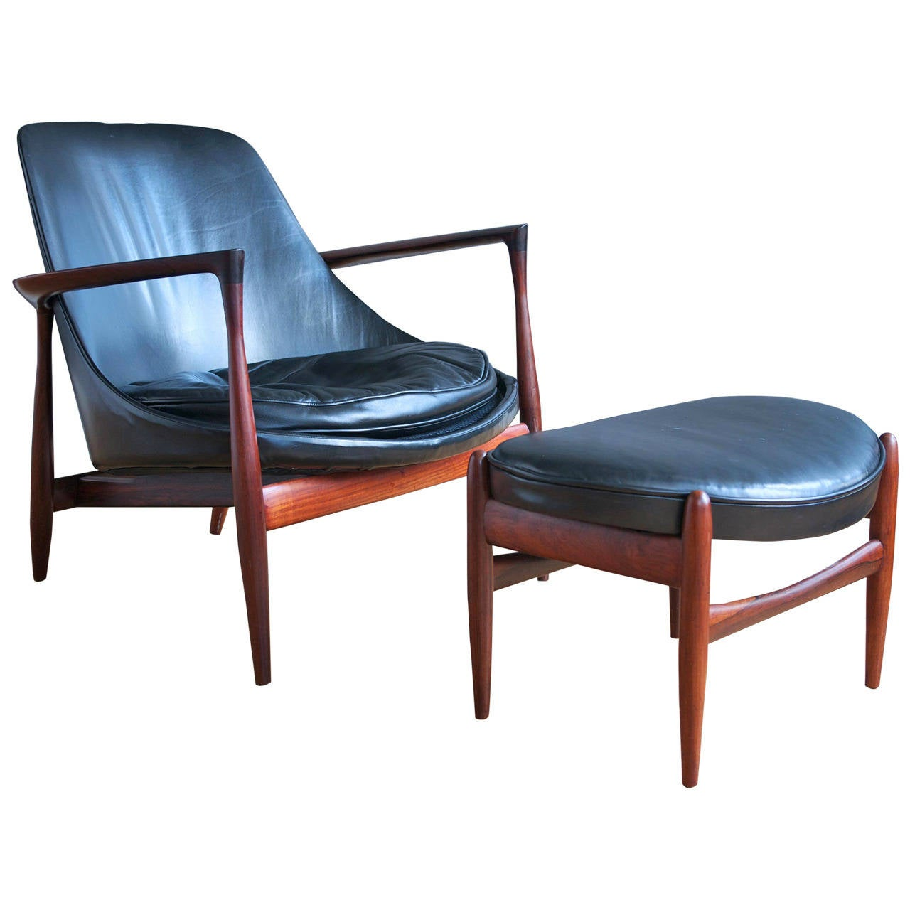 This sculptural pair of lounge chairs by ib kofod larsen is no longer - Ib Kofod Larsen Rosewood Elizabeth Lounge Chair