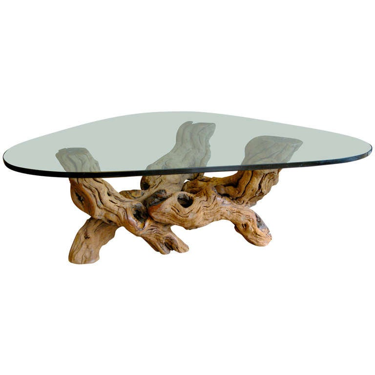 Burl Wood Coffee Table With Glass Top At 1stdibs