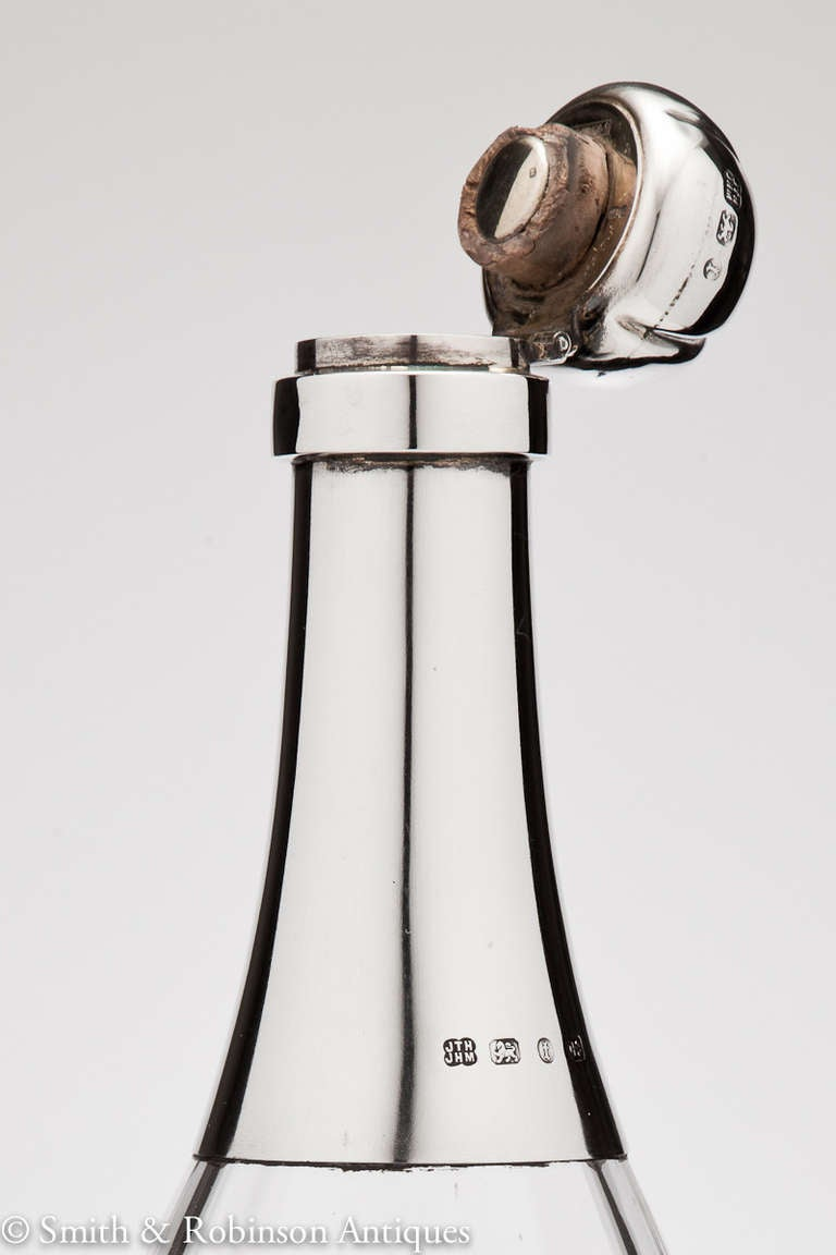 Superb Novelty Glass And Silver Champagne Bottle