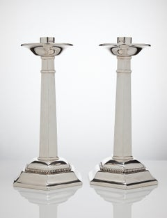 Large Sterling Silver Gothic Design Candlesticks London 1937