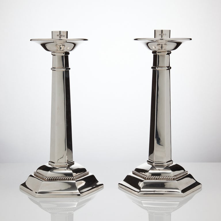 English Large Sterling Silver Gothic Design Candlesticks London 1937 For Sale
