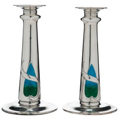Art Nouveau Silver & Enamel Candlesticks London 1909