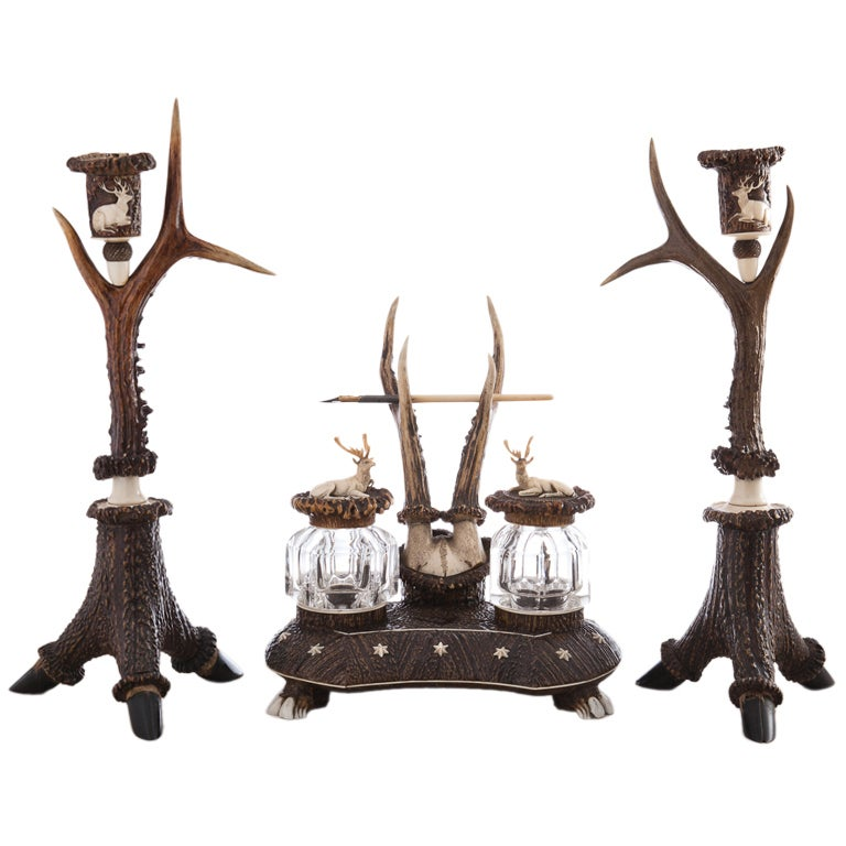 Rare and Impressive Roe Deer Horn Desk Set with Candlesticks, circa 1870-1880 For Sale