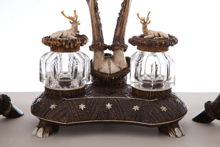 Rare and Impressive Roe Deer Horn Desk Set with Candlesticks, circa 1870-1880 In Excellent Condition For Sale In London, GB