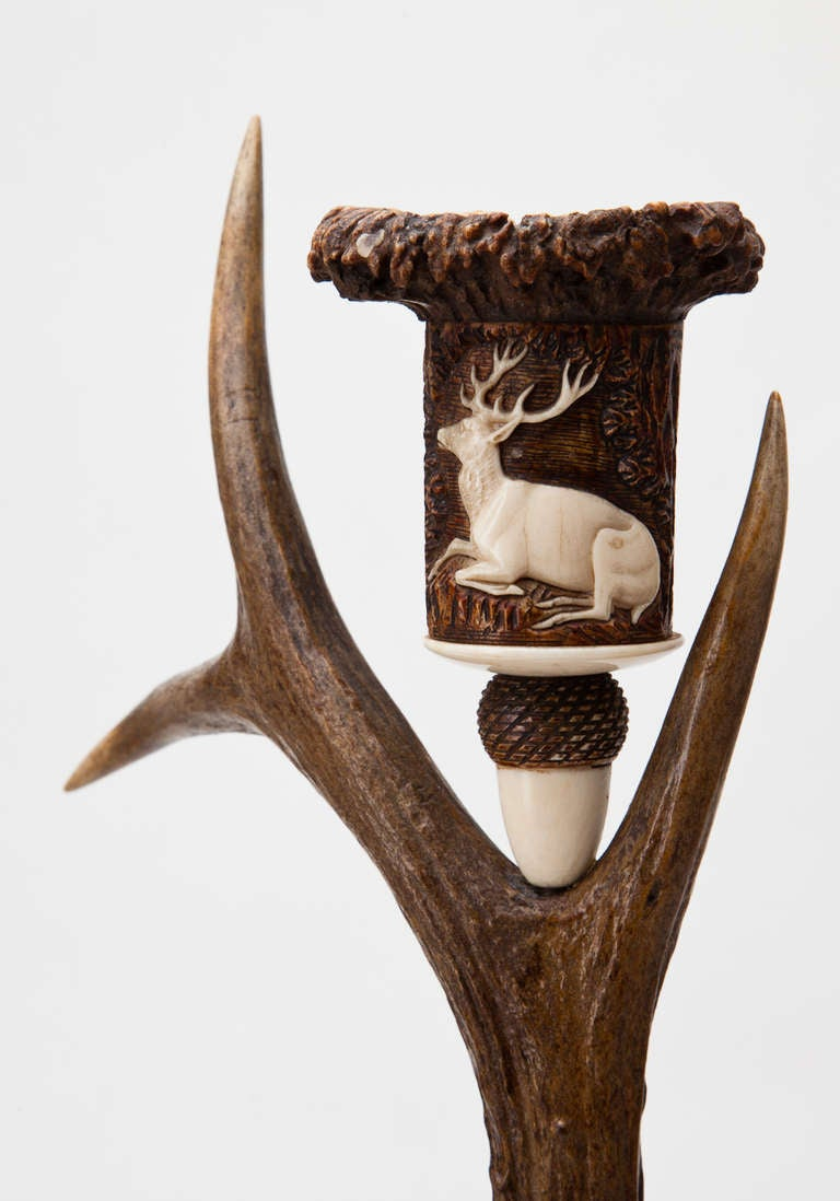 19th Century Rare and Impressive Roe Deer Horn Desk Set with Candlesticks, circa 1870-1880 For Sale