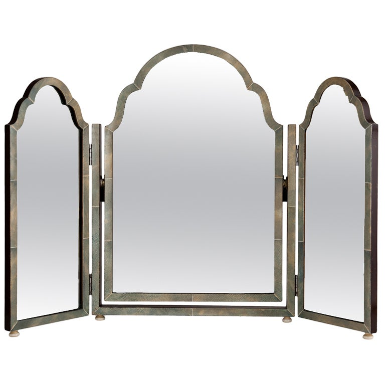 Large shagreen triple folding art deco vanity mirror for Large vanity mirror