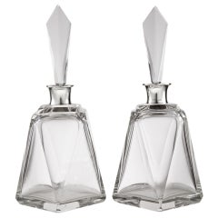Pair of Large Art Deco Decanters, London, 1920