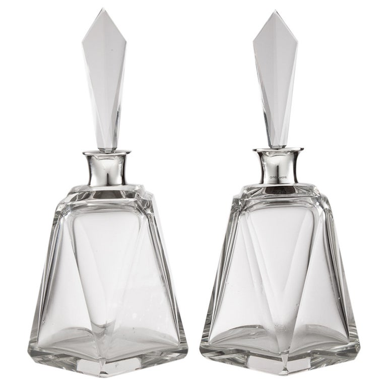 Pair of Large Art Deco Decanters, London, 1920 For Sale
