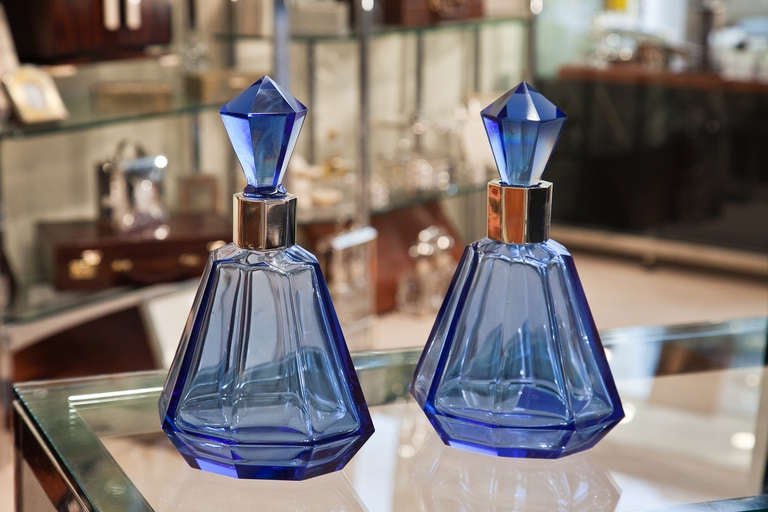 Wonderful Pair of Art Deco French Blue Glass & Silver Decanters c.1930 3