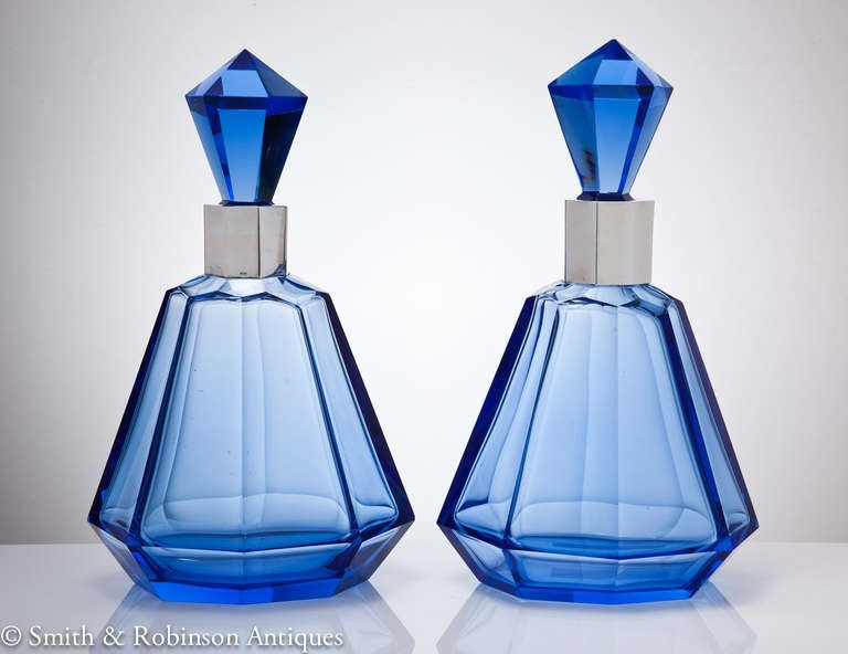 Wonderful Pair of Art Deco French Blue Glass & Silver Decanters c.1930 2