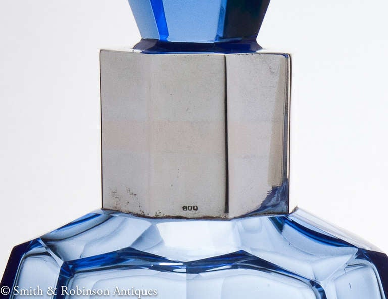 Wonderful Pair of Art Deco French Blue Glass & Silver Decanters c.1930 image 5