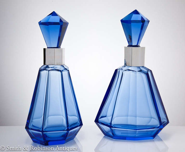 Wonderful Pair of Art Deco French Blue Glass & Silver Decanters c.1930 4
