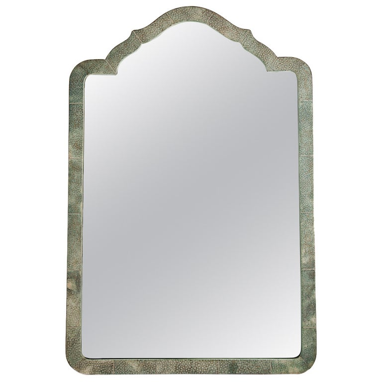 Elegant Shagreen French Art Deco Table Mirror, circa 1930 For Sale