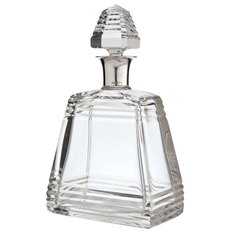Fine Art Deco Pyramid Decanter By Mappin And Webb At 1stdibs