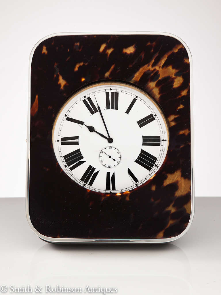Large Goliath Tortoiseshell and Silver Travel Clock, London 1909 3