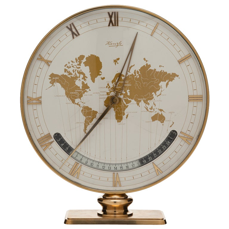 Large Kienzle Global Desk or Table Clock, circa 1960 For Sale