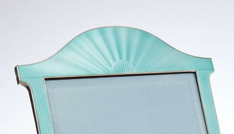 A Pure English Art Deco Aquamarine Enamel Picture Frame Dated London 1923 At