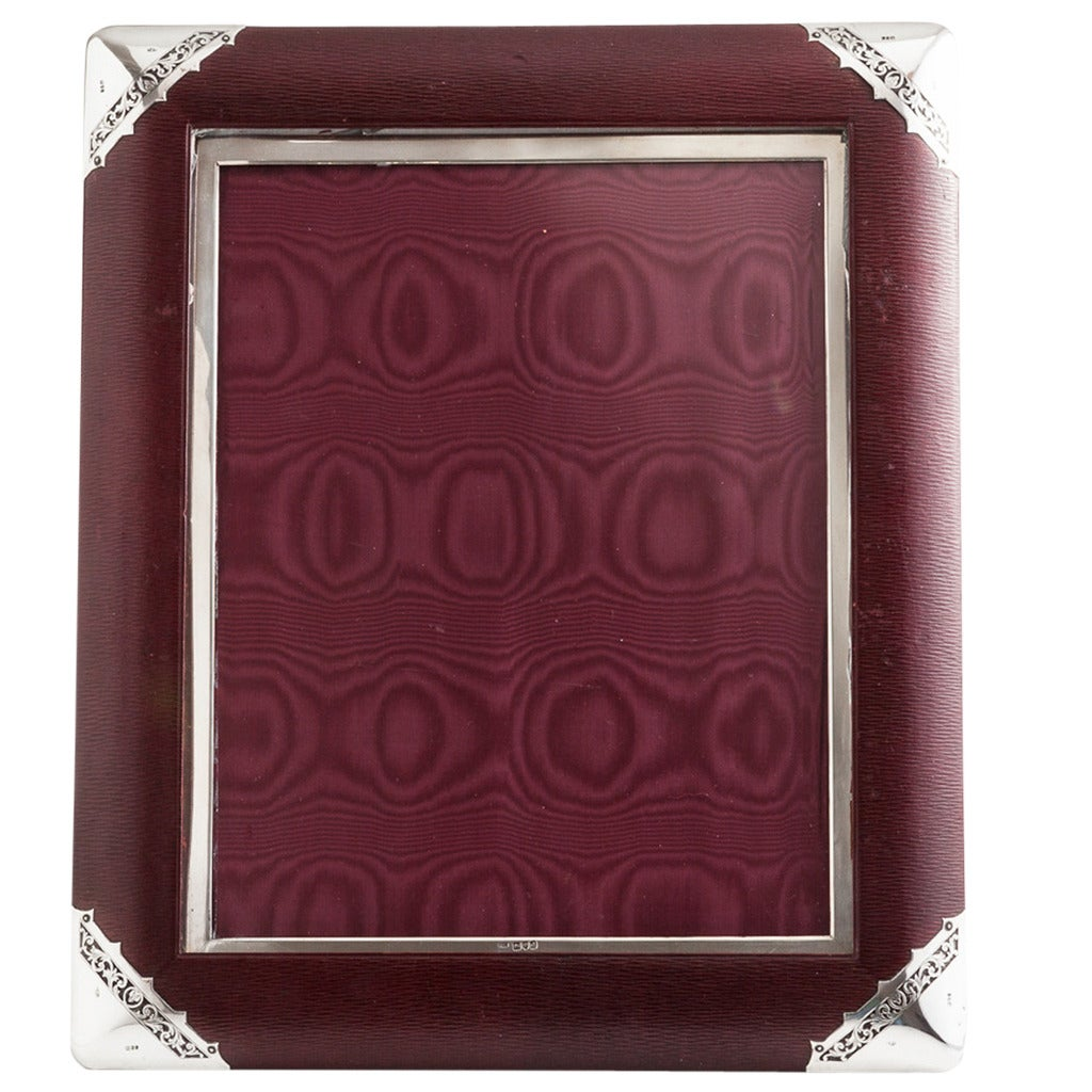 Large Early 20th century Morocco Leather and Silver Photo Frame, London, 1897
