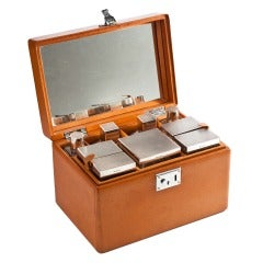 Exquisite Asprey Brothers Vintage Leather Grooming Travel Case, London, 1954